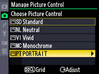picture control in camera
